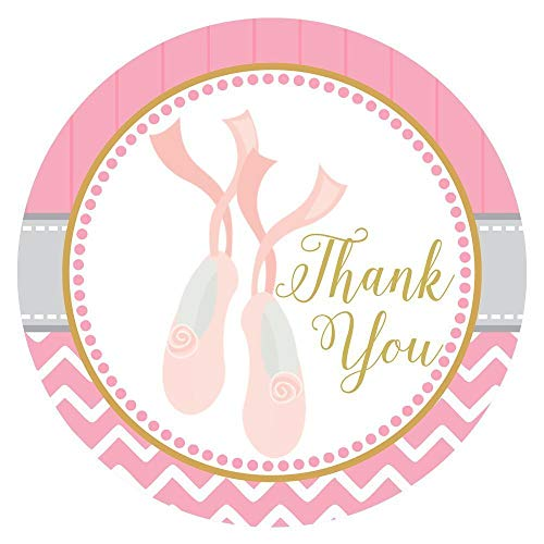 Ballerina Shoes Thank You Sticker Labels - Birthday Baby Shower Ballet Recital Party - Set of 30]()