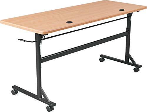 MooreCo Essentials Flipper Training Table 72x24 Teak Top Black Base (90094) by MooreCo (Image #1)