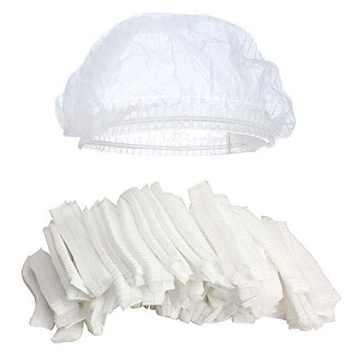 オート冷笑する起こるKingsie ヘアキャップ 使い捨て 100枚セット 不織布 シャワーキャップ フリーサイズ 通気性 衛生帽子 調理帽子 男女兼用 業務用 作業用 (ホワイト)