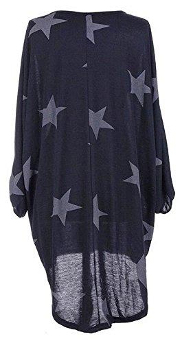 Dress Low Blue Print Blouse Womens Sleeve Size Long Neck Navy Hi Round Cromoncent Plus ZvPxwOZn