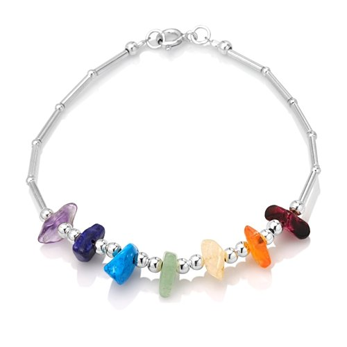 925 Sterling Silver Seven (7) Chakra Rainbow Gemstone Bracelet (Gemstone Rainbow Bracelet)