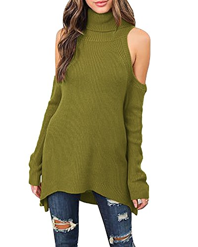 Nailyhome Women Black Turtleneck Cut Out Cold Shoulder Ribbed Knit Slim Pullover Sweater (S, Army Green)