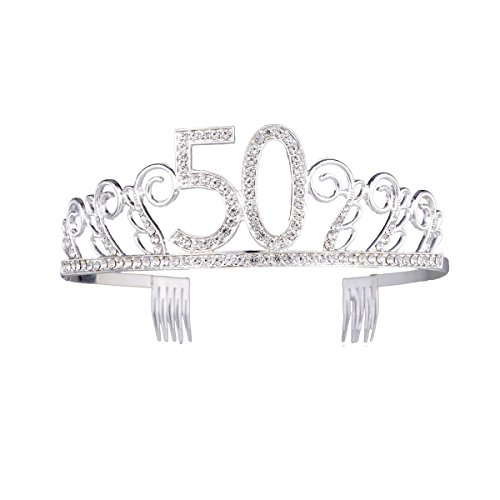 Frcolor Birthday Crowns Rhinestone Birthday Tiara Happy Birthday Birthday Party Tiara (50th)]()
