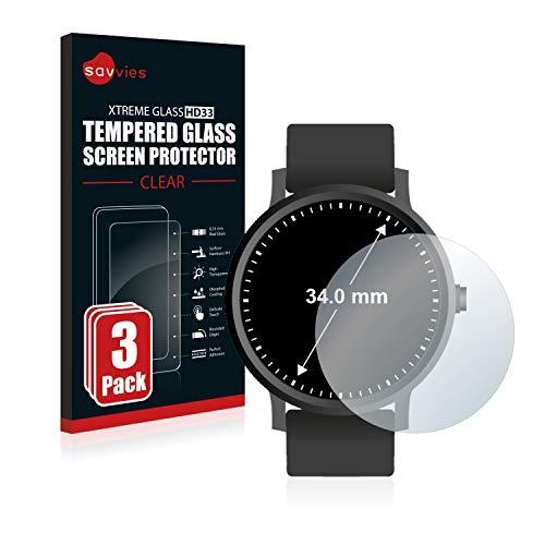 Savvies Panzerglas kompatibel mit Armbanduhren (Kreisrund, Durchmesser: 34 mm) (3 Stück) – Echt-Glas, 9H Härte, Anti…
