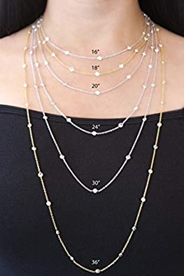 14K Yellow Or White Gold 1.3mm Shiny Diamond Cut Ice Chain Necklace for Pendants and Charms with lobster-Claw Clasp 16 18 or 20 inch