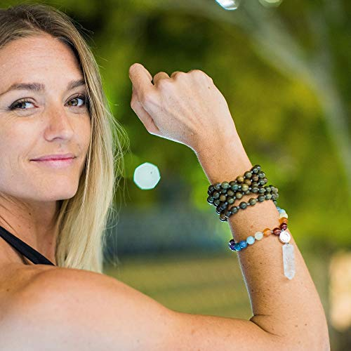 Modern-OM-108-Premium-8mm-Mala-Meditation-Beads-Unisex-Rainbow-Mala-Necklace-Quartz-Pendant-Green-Sandalwood-Genuine-Gemstones-Yoga-Jewelry