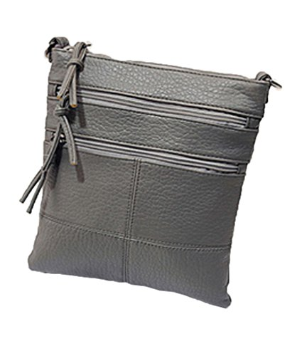 Zzfab Cross Bag Multi Grey Soft Zipper Pockets Super Body Leather 88YrAw