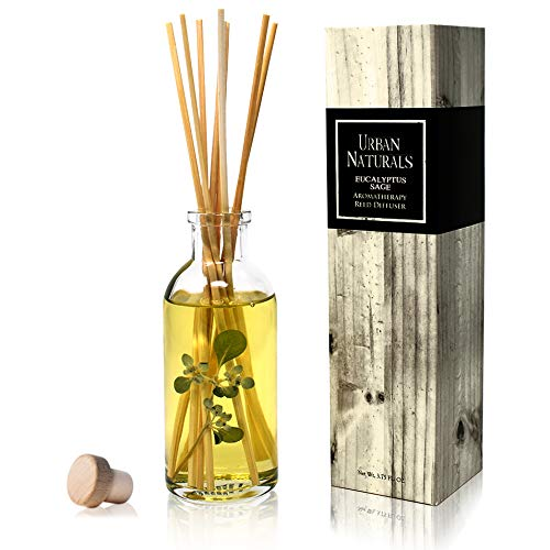 Urban Naturals Eucalyptus Sage Reed Diffuser Oil Gift Set | Eucalyptus, Sage, Mint, Lime & Cedarwood Essential Oils| Soothing & Relaxing Scent for Bathroom or Bedroom