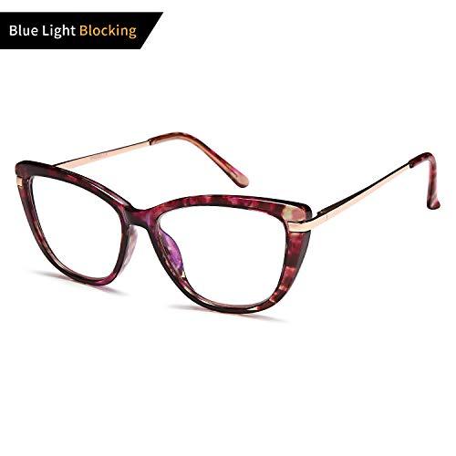 VVDQELLA Womens Ladies Oversized Cat Eye Reading Glass, Blue Light Blocking Glasses, Spring Hinge Modern Eyeglass Frame
