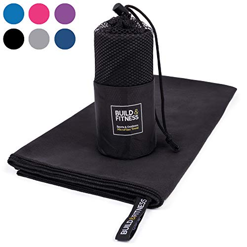Microfiber Towel. Large. Quick Drying, Compact, Super Absorbent, Lightweight, Antibacterial. Best Towel for Gym, Swimming, Camping, Beach, Travel, Fitness, Yoga, Sports. Carry Bag