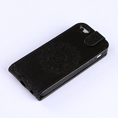 Für Apple iPhone 5 5G 5S / iPhone SE (4 Zoll) Tasche ZeWoo® Ledertasche Kunstleder Brieftasche Hülle PU Leder Schutzhülle Case Cover - GH020 / schwarz