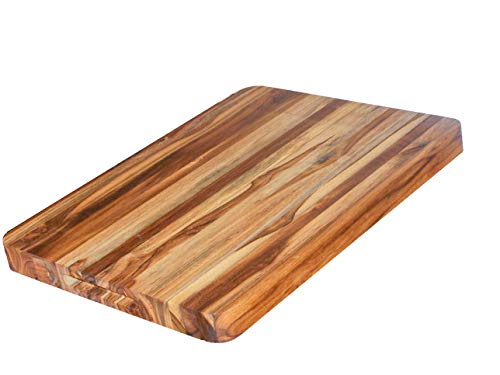 Solid Teak Cutting Board. Rectangular Edge Grain with Custom Hand Grips and Exclusive No Skid No Mar Feet. (20x15x1.5 Inches) By Teak For Less
