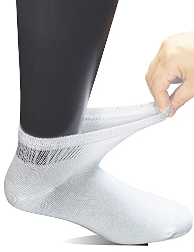 Yomandamor Men's 6 Pairs Combed Cotton Diabetic Ankle Socks with Seamless Toe and Non-Binding - Mens Diabetic Socks