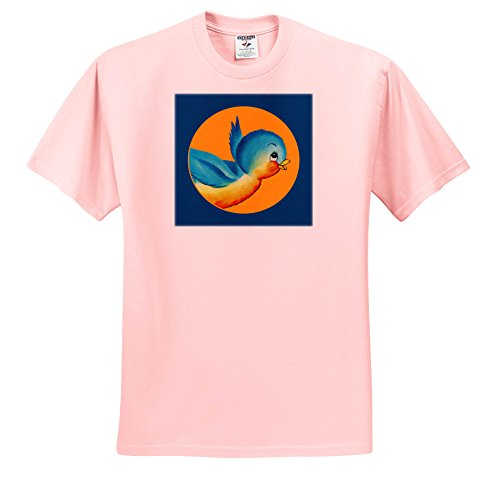 TNMPastPerfect Animals - Little Blue and Orange Bird Image - T-Shirts - Adult Light-Pink-T-Shirt Small (Bird Womens Light T-shirt)