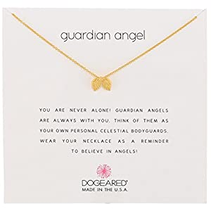 "Dogeared Reminders Guardian Angel Gold Dipped Sterling Silver Angel Wings Charm Necklace, 16""+2"" Extender"