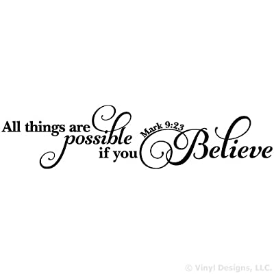All Things Are Possible If You Believe Quote Vinyl Wall Art Decal Sticker, Removable Words Home Decor