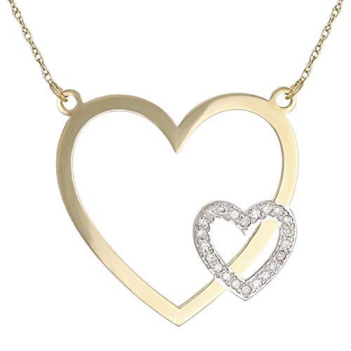 10K Yellow Gold Diamond-Studded Double Heart Shaped Pendant Necklace (0.03 cttw, I-J Color, I1-I2 Clarity), 18