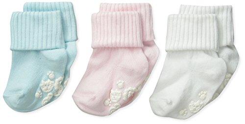 Triples rollos de algodón y licra para niñas con suela antideslizante, paquete de 3, Whisper Pink/White/Mist Blue, Small