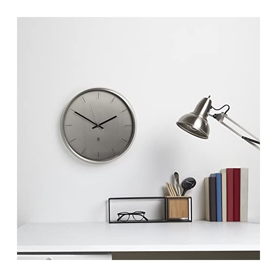 """Umbra Meta Wall Clock, Nickel Quiet, Non Ticking and Silent, Easy to Read Indoor Round Wall Clocks With Solid Metal Frame - Measures 12 ½'' by 1 ½""""- Great for Home, Office, Kitchen, Bedroom - MODERN AND SLEEK: With its soft lines, smoothed edges, and polished nickel finish, Meta can add an air of sophistication and elegance to any room ALL UMBRA CLOCKS ARE TESTED IN-HOUSE: Inside our factories is a wall where every single one of our clocks is tested to make sure it ticks just right. Meta comes with mounting hardware and has silent sweeping quartz clock mechanisms. CLASSIC CLOCK SIZE: Measuring 12.5 x 1.5 inches, Meta can act as a standalone piece or accompany a broader series of wall décor - wall-clocks, living-room-decor, living-room - 41%2BRO0uOt8L. SS570  -"""