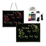 Enshey LED Message Writing Board, 32''x24'' Flashing Illuminated Erasable Neon Effect Restaurant Menu Sign Non Porous Glass Surface with 8 Fluorescent Chalk Markers, 16 Colors of RGB 4 Flashing-Mode Rem