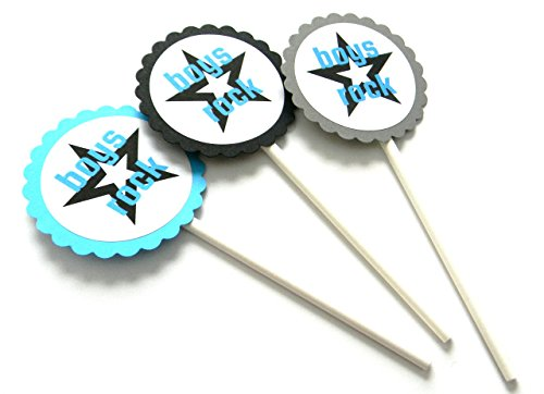 Boys Rock Cupcake Toppers - Set of 12 -