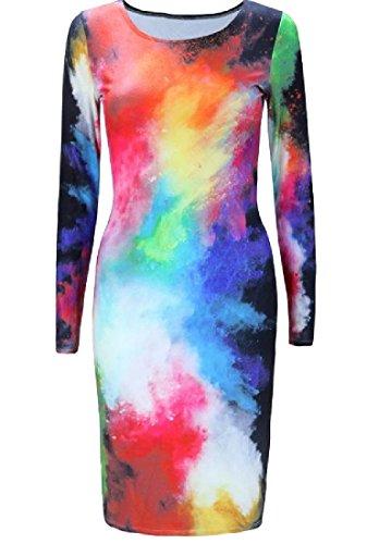 Coolred-femmes Encolure Dégagée Et Imprimé À Manches Longues Coloré Mi Robe Longueur 4