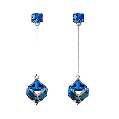 SIVERY Earrings for Women 'Infinity Love' Dangle Earrings with Blue Swarovski Crystals, Jewelry for ()