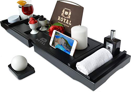 ROYAL CRAFT WOOD Luxury Bathtub Caddy Tray, One or Two Person Bath and Bed Tray, Bonus Free Soap Holder (Black Bamboo Color)