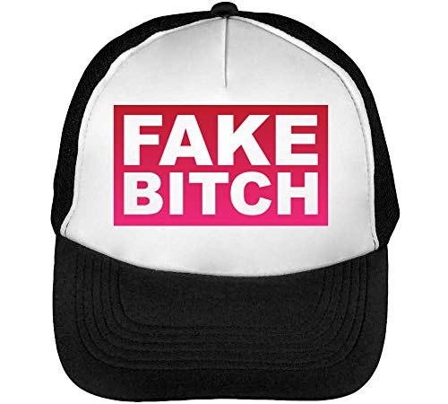 Fake Bitch Funny Red Framed Slogan Gorras Hombre Snapback Beisbol Negro Blanco