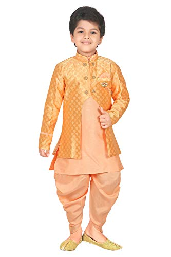 Kurta Dhoti (ahhaaaa Kids Ethnic wear Waistcoat, Indo Western Sherwani and Dhoti Pant for Boys_LORNG424-9 Light Orange)