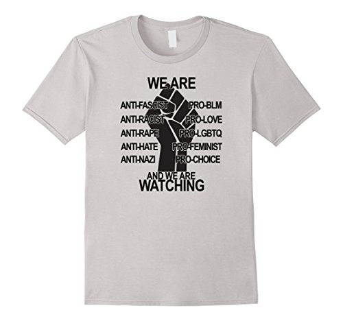 Men's We Are Watching Power Fist #BLM Love Trumps Hate Shirt   XL Silver
