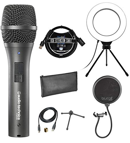 "Audio-Technica AT2005USB Cardioid Dynamic Microphone for PA Systems, Windows and Mac Bundle with Blucoil Pop Filter Windscreen, 3-FT USB 2.0 Type-A Extension Cable, and 6"" Dimmable Selfie Ring Light"