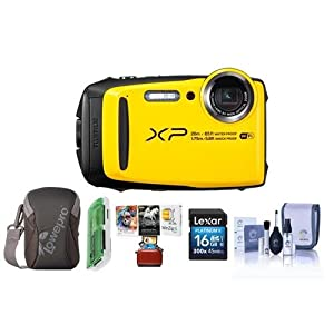 Fujifilm FinePix XP120 16.4MP Digital Camera, 5x Optical Zoom Yellow - Bundle With 16GB SDHC Card, Camera Case, Cleaning Kit, Card Reader, Mac Software Package