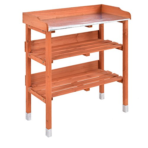 Heaven Tvcz Potting Bench Work Station Table Tool Storage Station Patio Shelf Garden Work Wooden Hook Outdoor by Heaven Tvcz (Image #4)