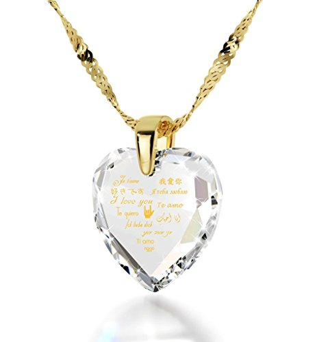 Gold Plated Heart Pendant I Love You Necklace 12 Languages 24k Gold Inscribed Clear Cubic Zirconia, (Glass 3 Hearts Necklace)