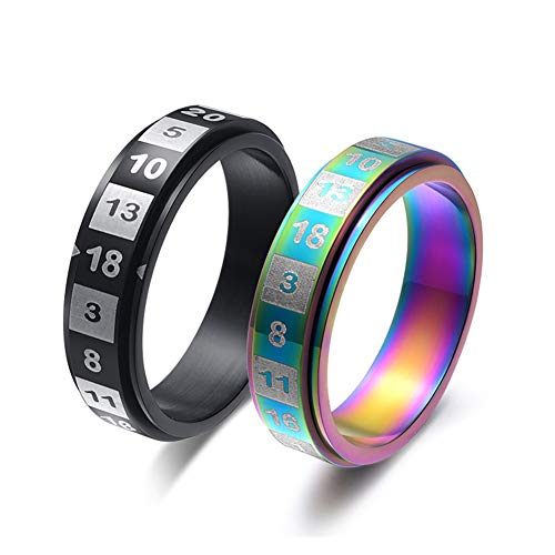 JAJAFOOK Women's Men's 6MM Fashion Stainless Steel Spinner Ring Dice Number Rotatable Ring Size 6-11