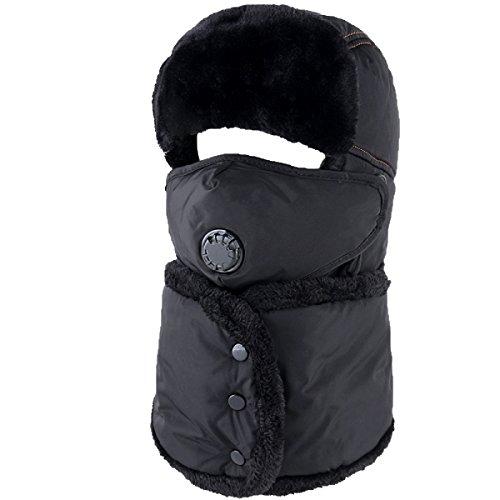Sombrero De Bombardero Caliente De Invierno Para Hombre Sombrero De Piloto De Sombrero De Caza Orejera De Estilo Ruso Unisex Máscara A Prueba De Viento Sombrero De Esquí De Invierno Clásico negro