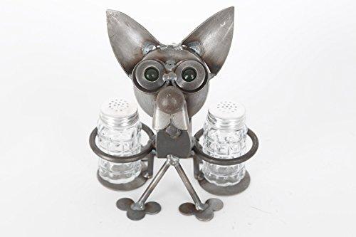 - Yardbirds Junkyard Metal Chubby Nut Chihuahua Salt and Pepper Holder F471