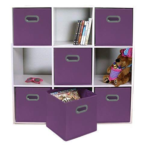 Storage Basket Unit (Adorn Home Essentials| Dual Handle Foldable Cloth Storage Cube| Basket, Bins, Containers and Drawer Organizer| 6-Pack - Purple)