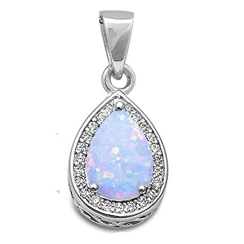 Oxford Diamond Co Sterling Silver Lab Created White Opal Pear Shape Drop Pendant Diamond Pear Opal Pendant