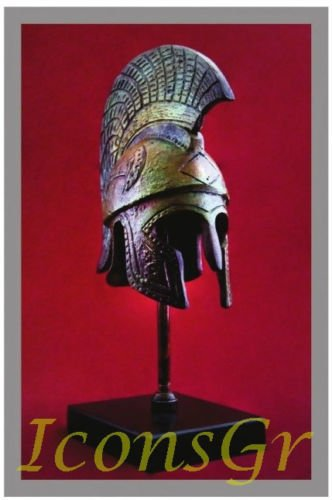 Helmet Museum Replicas (Ancient Greek Bronze Museum Replica of Spartan Helmet on a Base (1373-1))