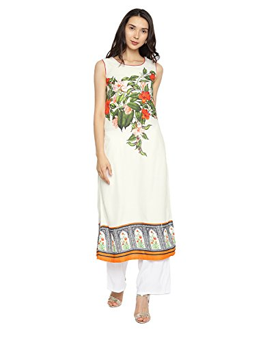 Aaboli 100% Rayon Kurta for Women Digital Floral Print Round Neckline Long Dress Tunic Casual Kurti for Women