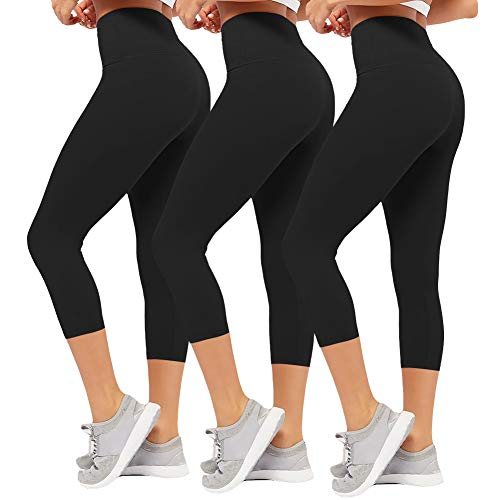 CAMPSNAIL Plus Size High Waisted Leggings for Women Yoga Pants Seamless Capri Leggings Compression Athletic Workout Leggings