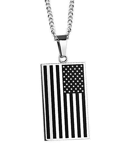 Mens TitaniumSteel Flag Stripe Block Big Pendant Necklace Dog Tag with Interlocking Chain Llink (Half Moon Buckle Belt)