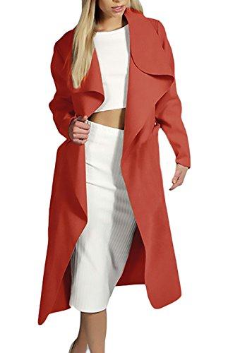 Parkas Mujer Invierno Tallas Grandes Baratas Largas Abrigos Otoño Elegante Rompevientos Manga Larga De Solapa Gabardina De Paño Suelto Casual Clásico Cortavientos Ropa De Coat Outcoat Trench Rojo