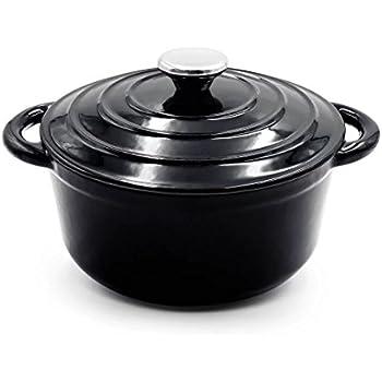 aidea enameled cast iron dutch oven 5 quart black round ceramic coated cookware. Black Bedroom Furniture Sets. Home Design Ideas