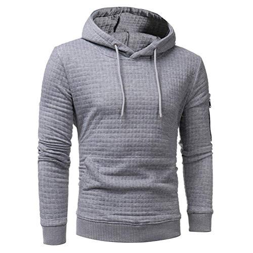 Long Sleeve Plaid Hoodie Hooded Solid Sweatshirt Drawstring Tops Mens' Jacket Coat Outwear Overcoat (Gray, XXXL) by Danhjin Mens' (Image #1)