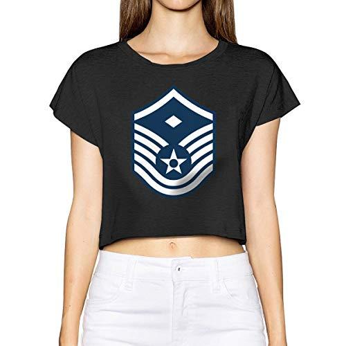 Air Force Master Sergeant 1st SGT Diamond Rank Woman Short Sleeve Leak Navel Tees Crew Neck Blouses Tops Shirt Black