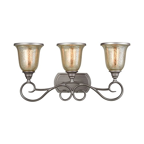 Elk Lighting CN230317 Georgetown 3-Light for The Bath in Weathered Zinc with Mercury Glass Vanity Wall Sconce ()