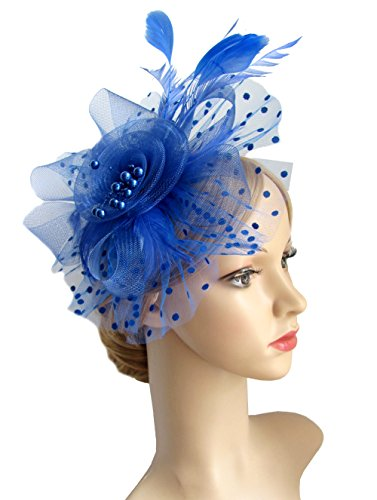 Flower Cocktail Tea Party Headwear Feather Fascinators Top Hat for Girls and Women (Royal Blue) -